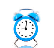 Alarm clock with dollar signs. Ringing isolated on white stock photo