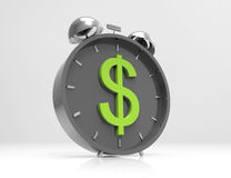 Alarm clock with dollar symbol on clockface. 3d concept design Royalty Free Stock Photography