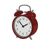 Alarm clock. Drawing of red vintage alarm clock Royalty Free Stock Images
