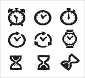 Alarm clock. Alarm drawn black and white, vector, various kinds of clock , buttons , illustration Vector Illustration