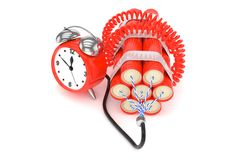 Alarm clock with dynamite. 3D rendering. Stock Photo