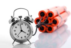 Alarm clock and dynamite Stock Photo