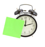 Alarm clock with note Royalty Free Stock Photo