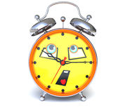 Alarm clock with face Stock Image