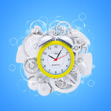 Alarm clock with figures and white gears Royalty Free Stock Image