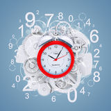 Alarm clock with figures and white gears Stock Photos