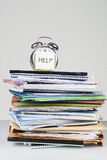 Alarm clock and file stack Stock Images