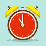 Alarm Clock Flat Design Icon. Alarm Clock Vector Flat Design Symbol Royalty Free Stock Photo
