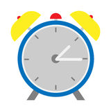 Alarm clock flat design style. Modern flat icon in stylish colors. Web site page and mobile app design element Stock Photography