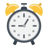 Alarm clock flat icon, time and deadline Royalty Free Stock Photos
