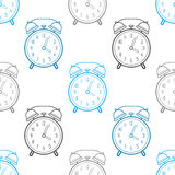 Alarm clock, flat linear icon. Seamless pattern. Time. Vector Stock Photo