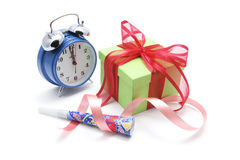Alarm Clock and Gift Parcel Stock Images