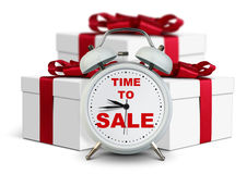 Alarm clock with gift, time to sale concept on white stock images