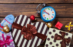 Alarm clock and gifts Royalty Free Stock Photography