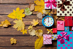 Alarm clock and gifts Royalty Free Stock Images