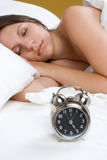 Alarm Clock Girl Royalty Free Stock Photography