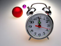 Alarm Clock and Glass Balls Royalty Free Stock Images