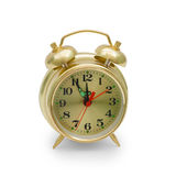 Alarm clock gold isolated Stock Images