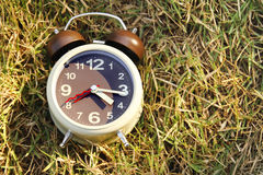 Alarm clock on grass Stock Photography