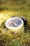 Alarm clock on grass Stock Photos
