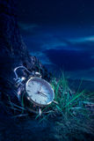 Alarm clock on grass at night Stock Photo