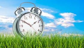 Alarm clock in green grass, 3d. Rendering Stock Photos