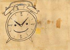 Alarm clock. Grunge style. Hand drawn. Mixed media artwork Stock Images