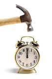 Alarm Clock and Hammer Royalty Free Stock Photography
