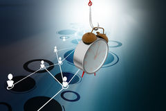 Alarm clock hanging the fish hook. In color background Royalty Free Stock Photo