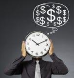 Alarm clock on head Royalty Free Stock Image