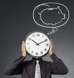 Alarm clock on head Royalty Free Stock Photography