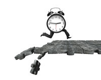 Alarm clock with human legs running on breaking puzzle ground. Alarm clock with human legs running on concrete puzzle ground with some pieces falling, isolated Royalty Free Stock Photo