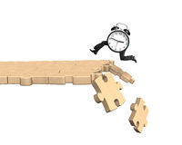 Alarm clock with human legs running on breaking puzzle path. Alarm clock with human legs running on wooden puzzle path with some pieces falling, isolated on Stock Images