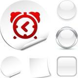 Alarm-clock  icon. Alarm-clock white icon. Vector illustration Stock Photos