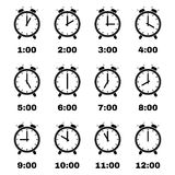 The Alarm Clock icon.  alarm clock symbol. Set Royalty Free Stock Photos