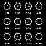 The Alarm Clock icon.  alarm clock symbol. Set Royalty Free Stock Photos