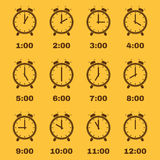 The Alarm Clock icon. alarm clock symbol. Set. The Alarm clock icon. Alarm clock symbol. Flat. Vector illustration. Set stock illustration