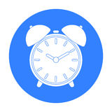 Alarm clock icon in black style isolated on white background. Hotel symbol stock vector illustration. Royalty Free Stock Photography