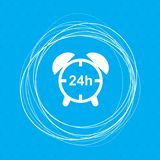 Alarm clock icon on a blue background with abstract circles around and place for your text. Illustration Stock Images