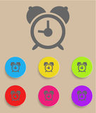 Alarm clock icon with color variations, vector.  Stock Image