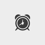 Alarm clock icon in a flat design in black color. Vector illustration eps10 Royalty Free Stock Photo