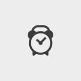 Alarm clock icon in a flat design in black color. Vector illustration eps10 Stock Images