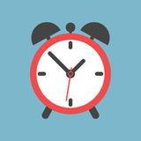 Alarm clock icon. Flat design style. Simple icon on blue backgro. Und. Web site page and mobile app design element Vector Illustration