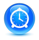 Alarm clock icon glassy cyan blue round button Royalty Free Stock Photography