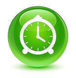 Alarm clock icon glassy green round button Royalty Free Stock Photo