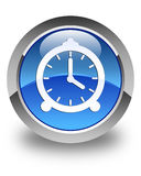 Alarm clock icon glossy blue round button Stock Photo