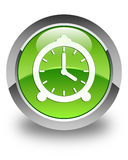 Alarm clock icon glossy green round button Royalty Free Stock Photos