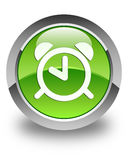 Alarm clock icon glossy green round button Stock Image
