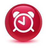 Alarm clock icon glassy pink round button Stock Images