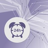 Alarm clock icon on purple abstract modern background. The lines in all directions. With room for your advertising. Illustration Royalty Free Stock Photo